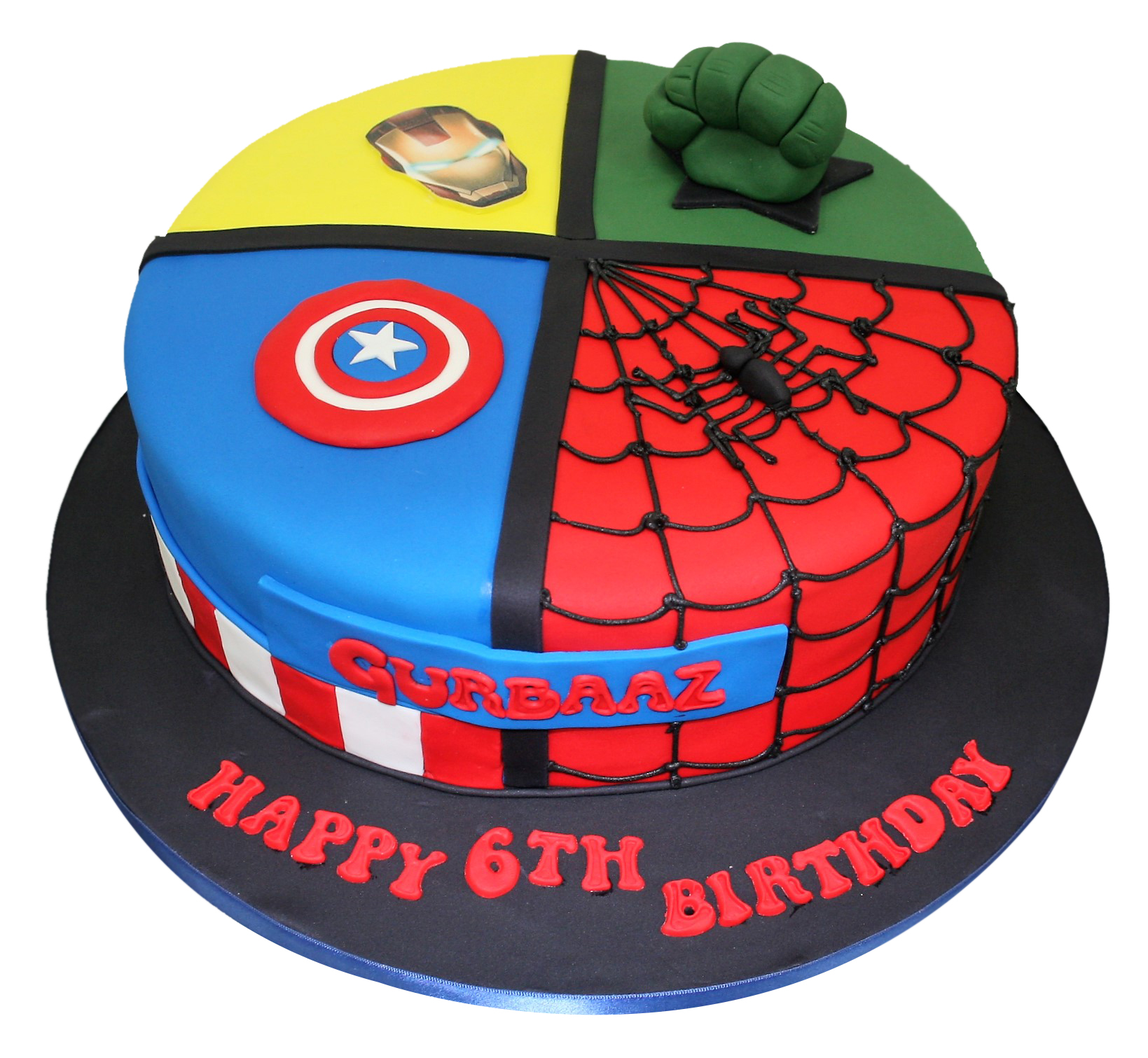 Awesome All In One Superheroes Birthday Cake Personalised Birthday Cards Rectzonderlifede