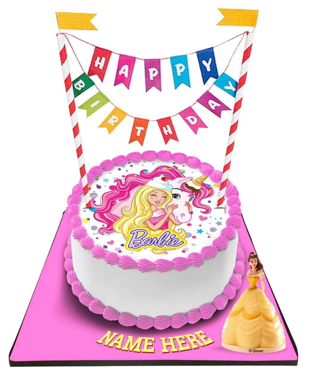Tremendous Barbie Cake With Happy Birthday Bunting Topper Personalised Birthday Cards Beptaeletsinfo