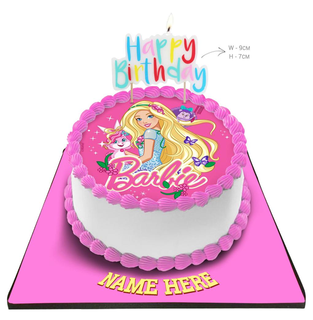 Sensational Barbie Cake With Happy Birthday Candle Funny Birthday Cards Online Elaedamsfinfo