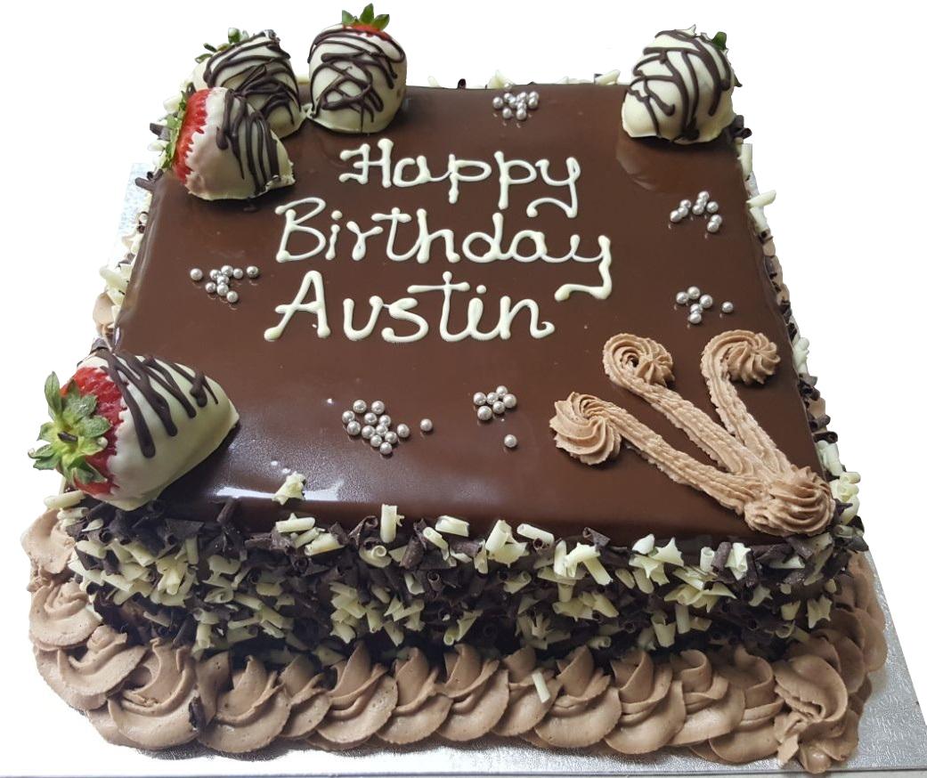 Tremendous Chocolate Strawberry Topped Birthday Cake Funny Birthday Cards Online Barepcheapnameinfo