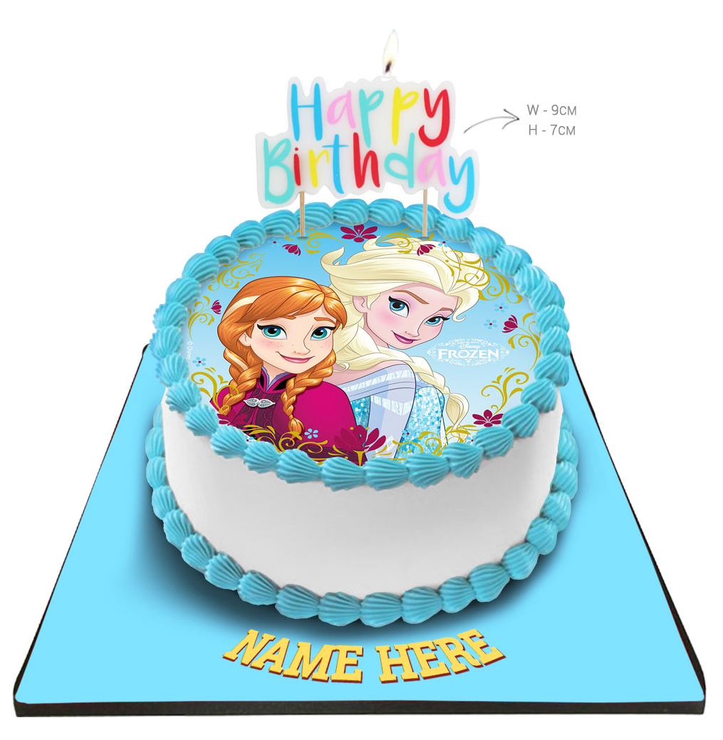 Phenomenal Disney Frozen Princess Cake With Happy Birthday Candle Personalised Birthday Cards Paralily Jamesorg