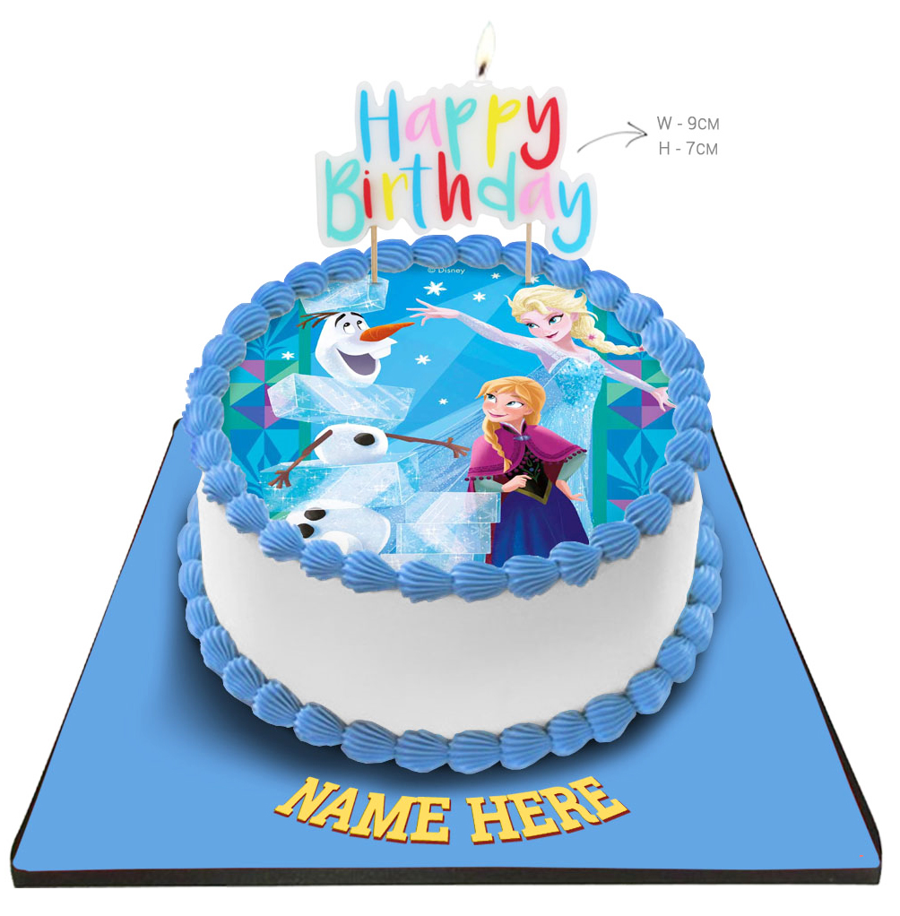 Remarkable Disney Frozen Princess Cake With Happy Birthday Candle Personalised Birthday Cards Paralily Jamesorg