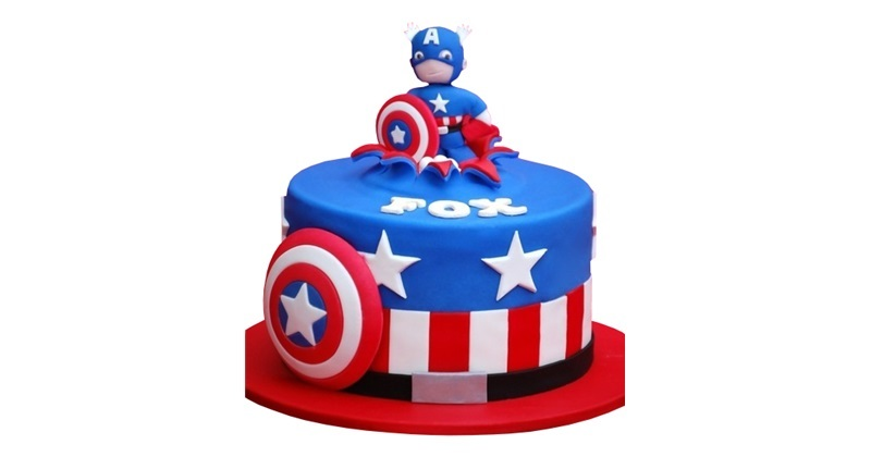 Remarkable Captain America Birthday Cake Funny Birthday Cards Online Elaedamsfinfo