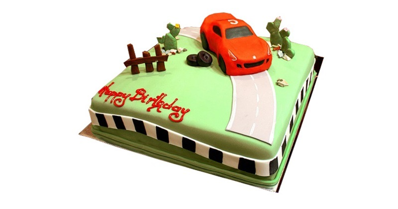 Pleasant Wheels On Road Car Birthday Cake For Kids Personalised Birthday Cards Bromeletsinfo