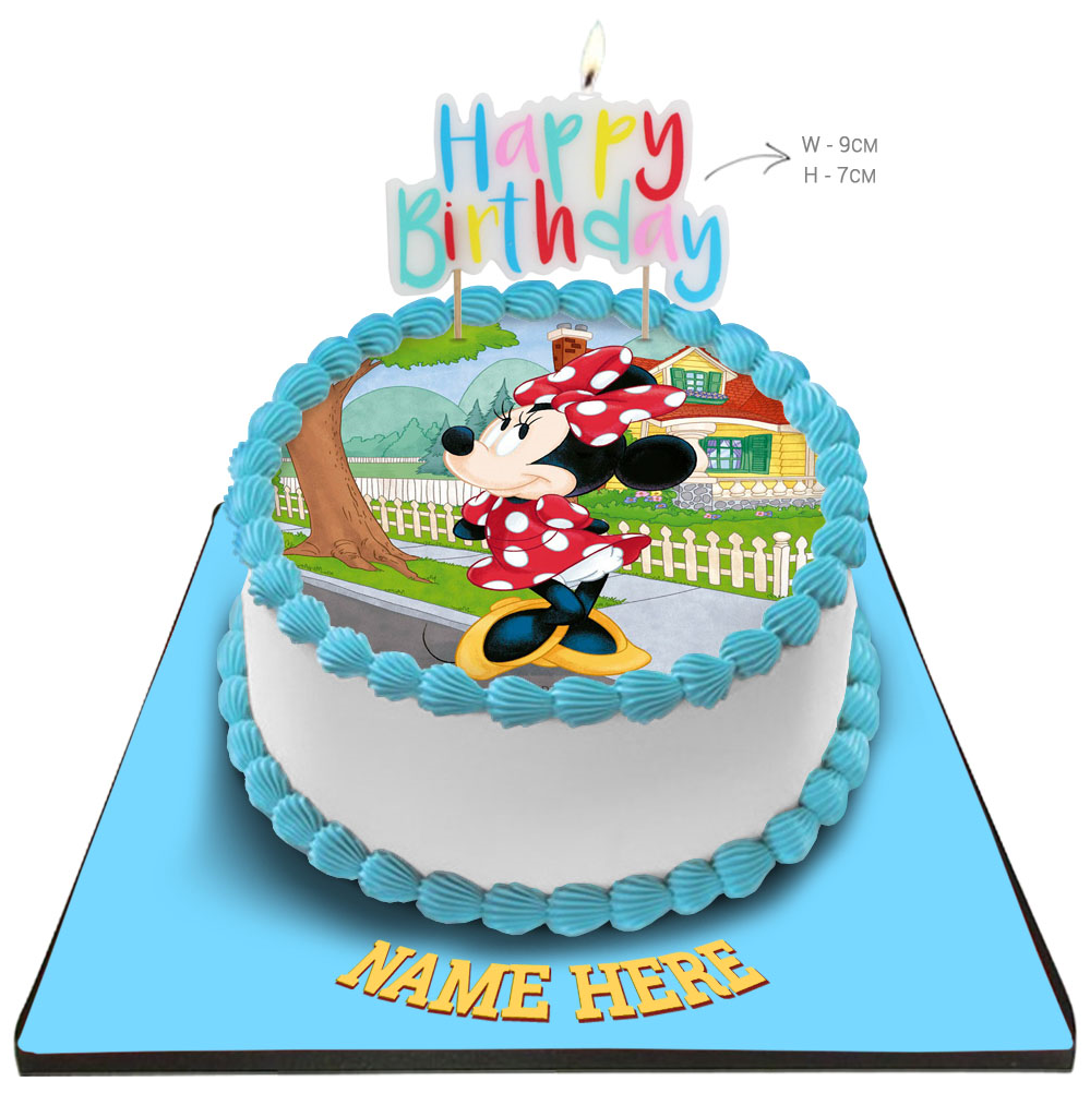 Minnie Mouse Cake with Happy Birthday Candle