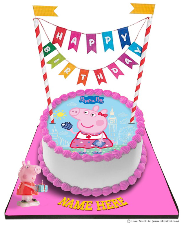 Superb Peppa Pig Cake With Happy Birthday Bunting Topper Funny Birthday Cards Online Overcheapnameinfo