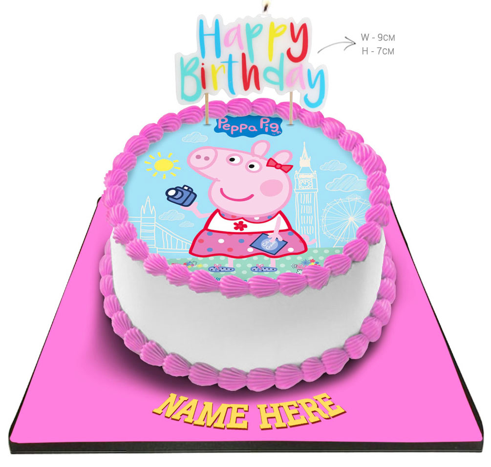 Astonishing Peppa Pig Cake With Happy Birthday Candle Personalised Birthday Cards Paralily Jamesorg