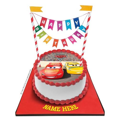 Car Cake With Happy Birthday Bunting Kids Birthday Cakes Car