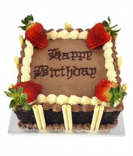 Chocolate Birthday Cake With Strawberry