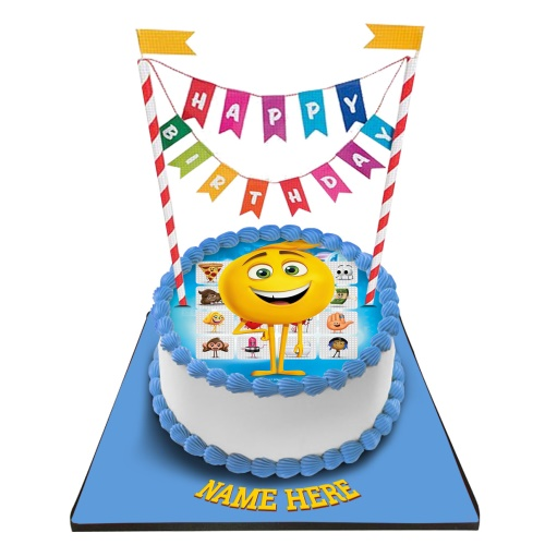 Emoji Cake With Happy Birthday Bunting