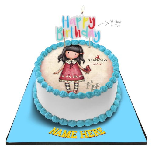 Gorjuss Cake With Happy Birthday Candle