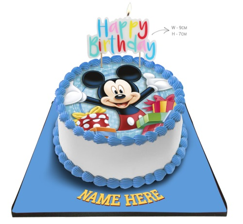 Remarkable Minnie Mouse Cake With Happy Birthday Candle Personalised Birthday Cards Bromeletsinfo