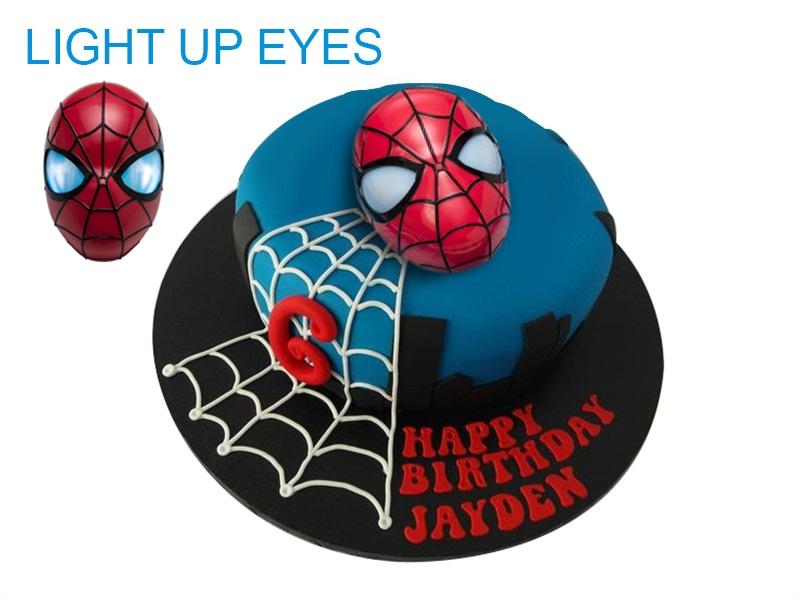 3D Light Up Mask Spiderman Birthday Cake