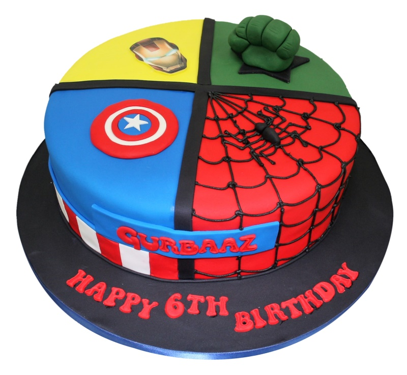 All-In-One Superheroes Birthday Cake