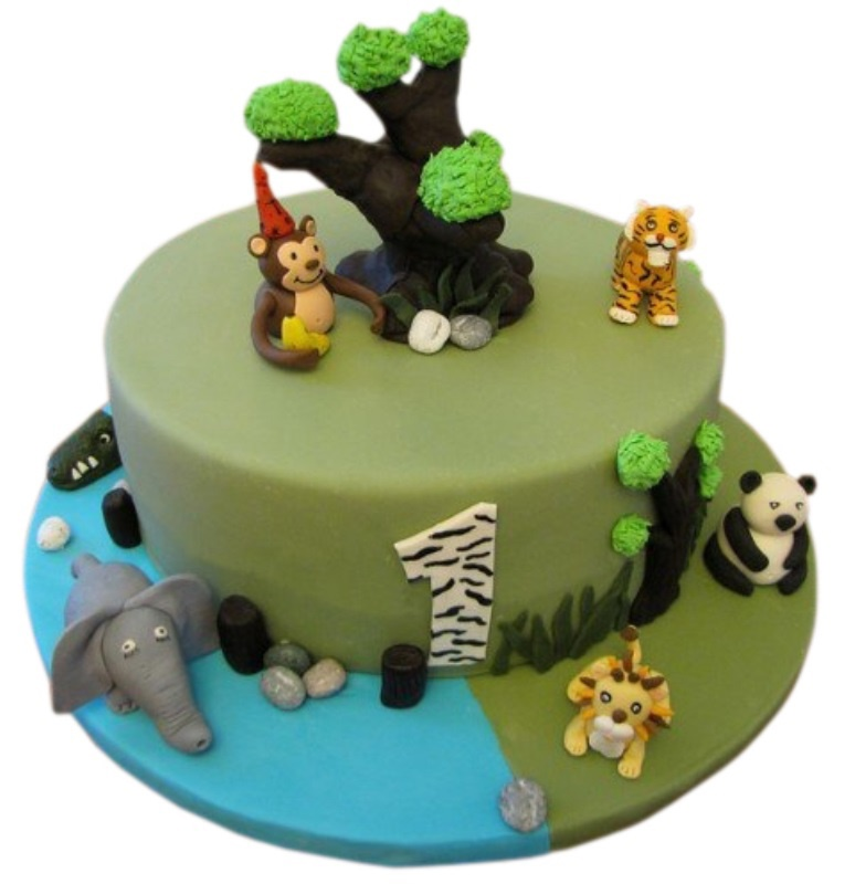 Animal safari cake