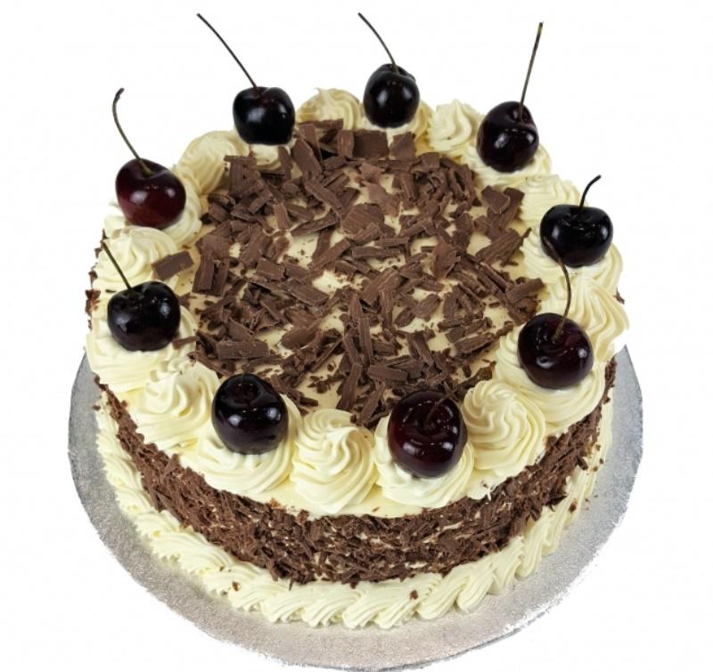 Cherry Topped Fresh Cream Birthday Cake