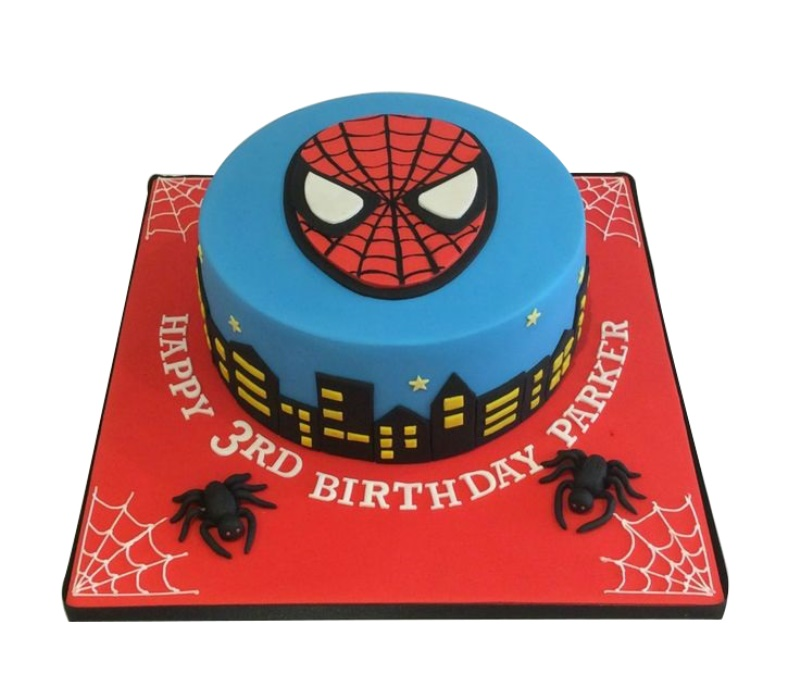 Stupendous City Night Masked Spiderman Cake Personalised Birthday Cards Beptaeletsinfo