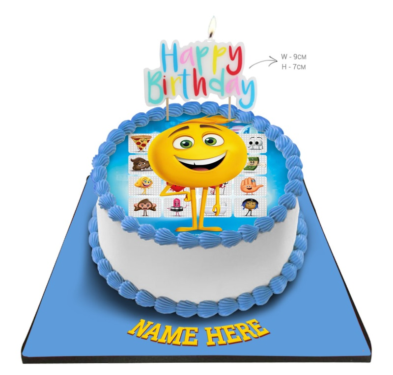 Emoji Cake With Happy Birthday Candle