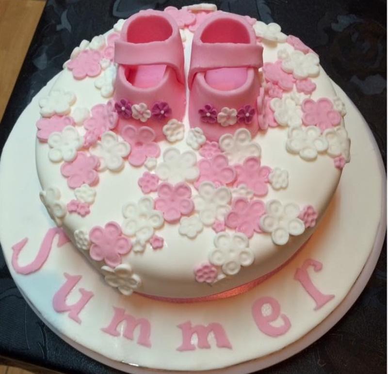 Flowers Topped Girl's Baby Shower Cake