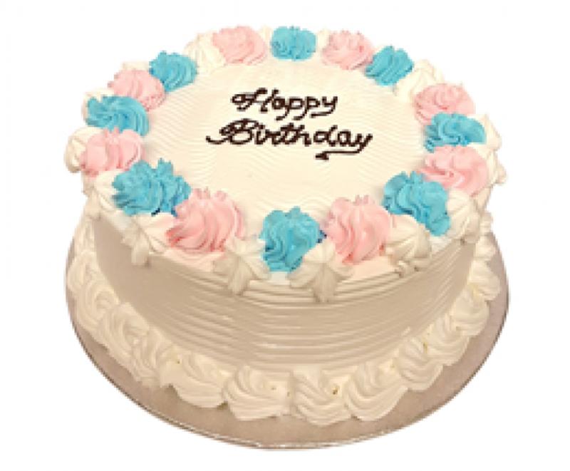 Fresh Cream Birthday Cake With Swirls