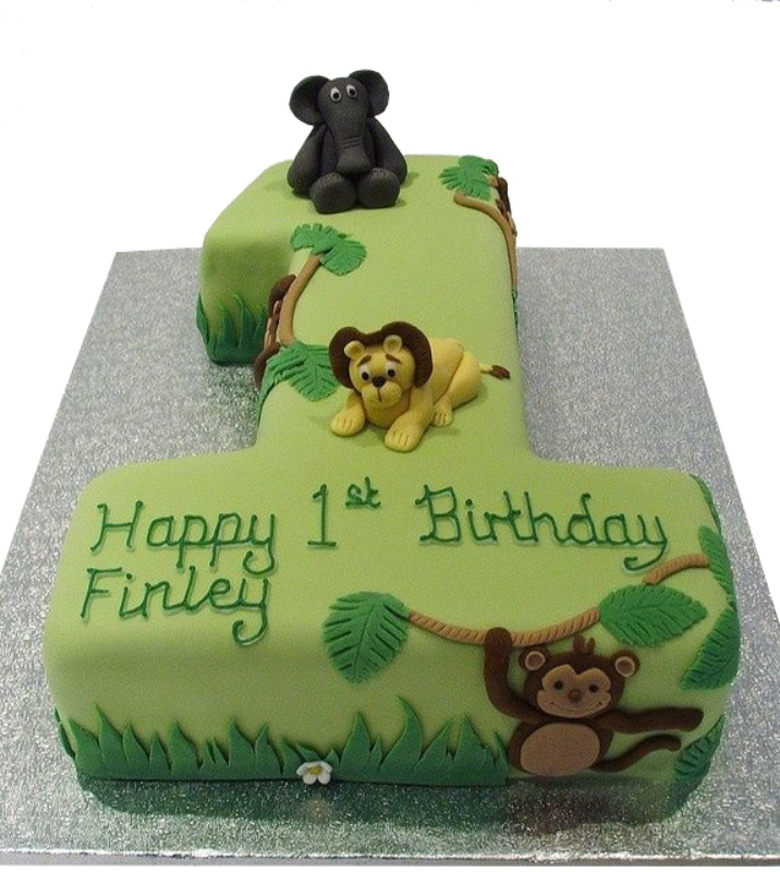 Admirable Jungle Cake Personalised Birthday Cards Bromeletsinfo
