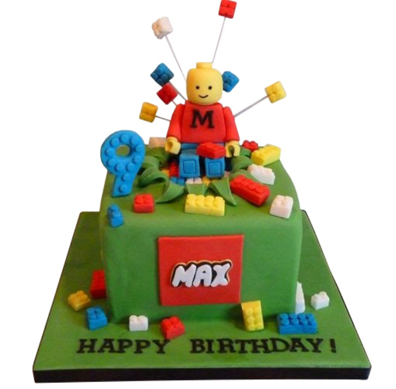 Lego Themed 9th Birthday Cake For Boys