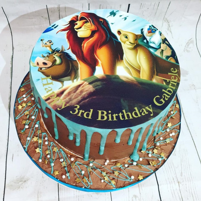 Peachy Lion King Themed Birthday Cake For Kids Funny Birthday Cards Online Fluifree Goldxyz