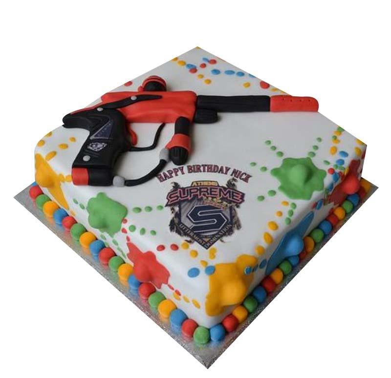 Awesome Paintball Cake Birthday Cards Printable Giouspongecafe Filternl
