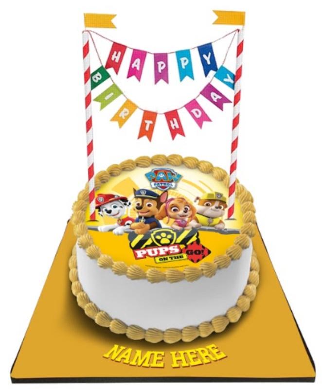 Paw Patrol Cake with Happy Birthday Bunting