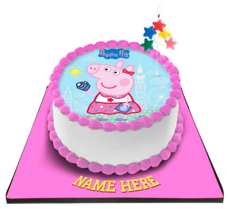 Peppa Pig Cake With Star Pop Outs