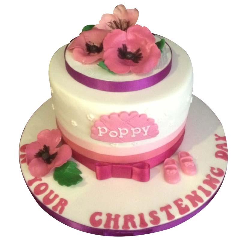 Poppy Christening Cake