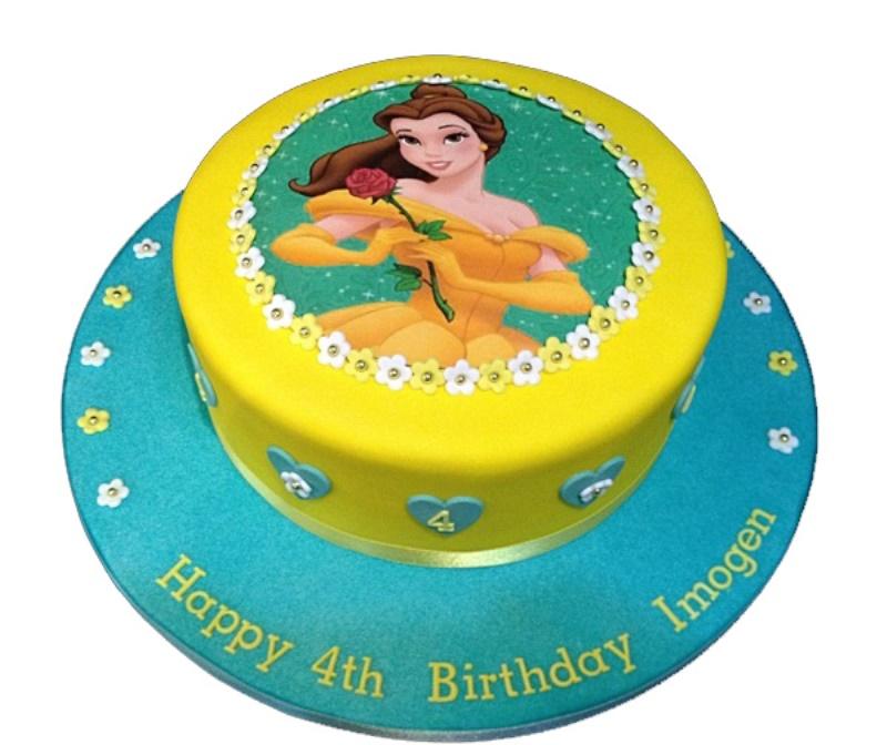 Marvelous Princess Belle Cake Birthday Cards Printable Trancafe Filternl