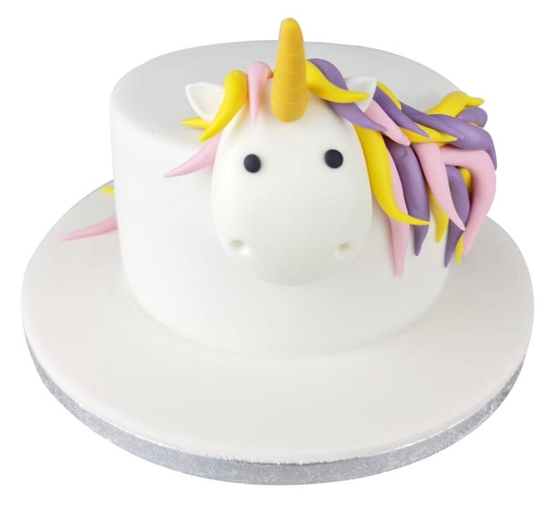 Simple Rainbow Unicorn Birthday Cake For Kids