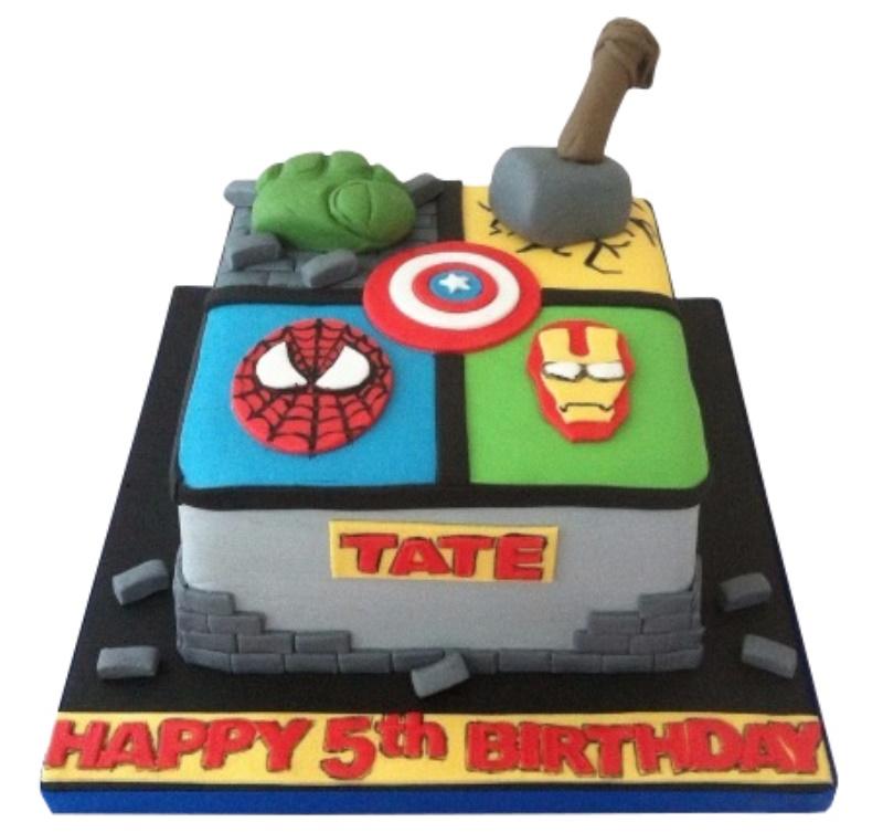 Superhero Theme Avengers Birthday Cake