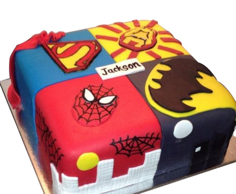 Magnificent Superheroes Birthday Cake For Kids Personalised Birthday Cards Cominlily Jamesorg