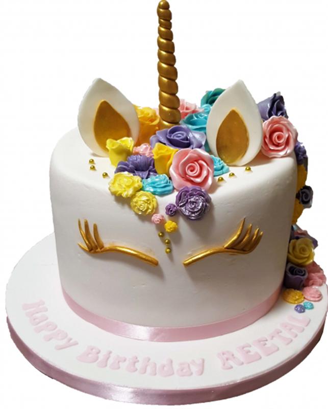 Unicorn Birthday Cake with Handmade Roses