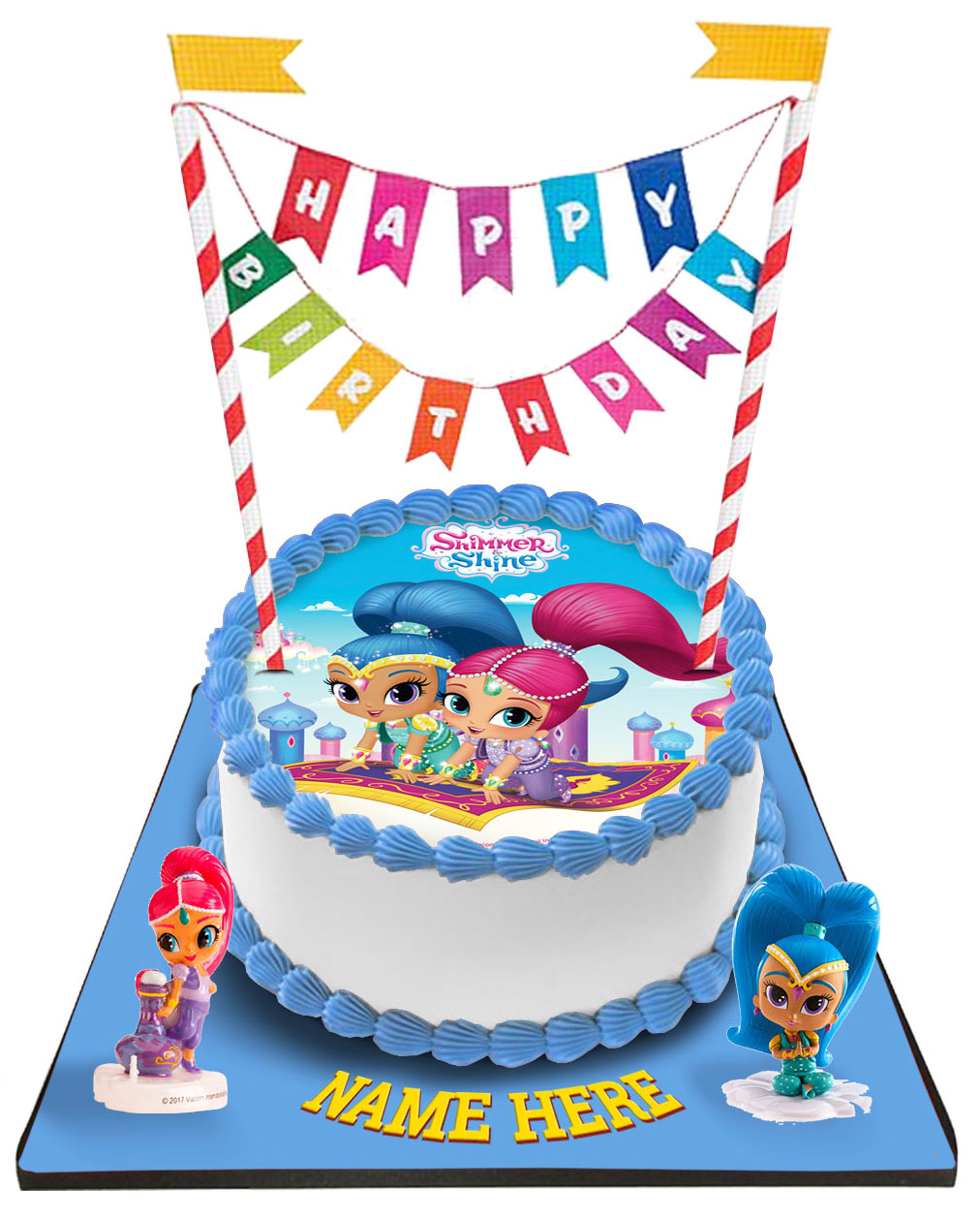 Shimmer & Shine Cake with Happy Birthday Bunting & Toppers