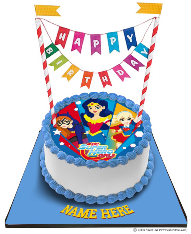Tremendous Super Hero Girls Cake With Happy Birthday Bunting Funny Birthday Cards Online Elaedamsfinfo