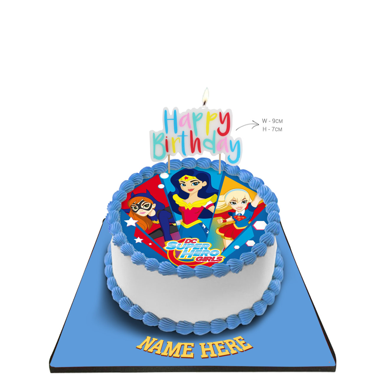 Groovy Super Hero Girls Cake With Happy Birthday Candle Funny Birthday Cards Online Fluifree Goldxyz