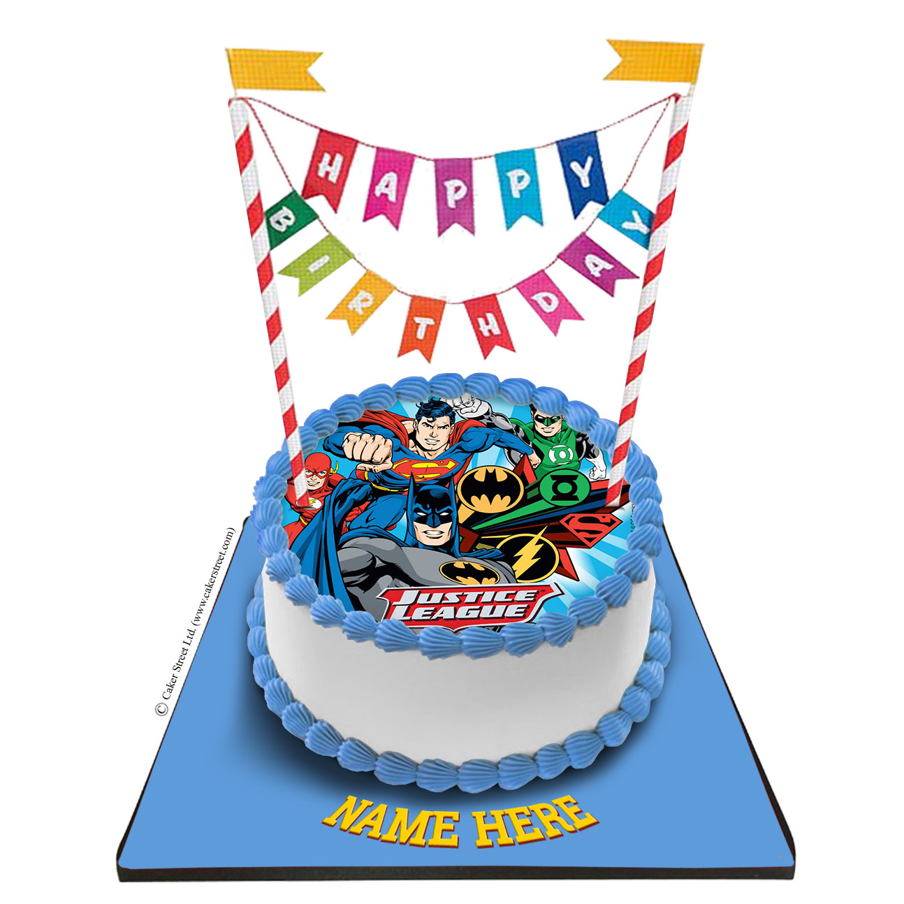 Superman Cake With Happy Birthday Bunting