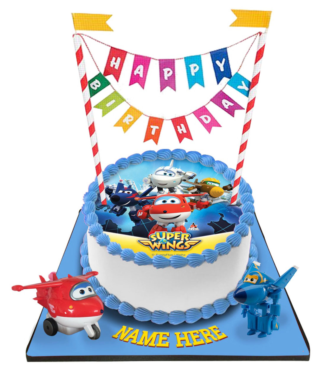 Super Wings Cake with Happy Birthday Bunting &Topper