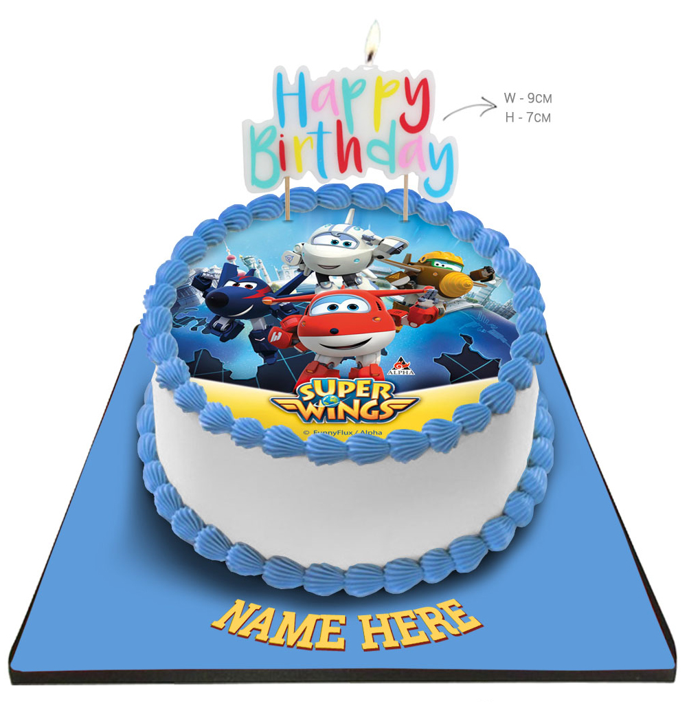 Super Wings Cake with Happy Birthday Candle